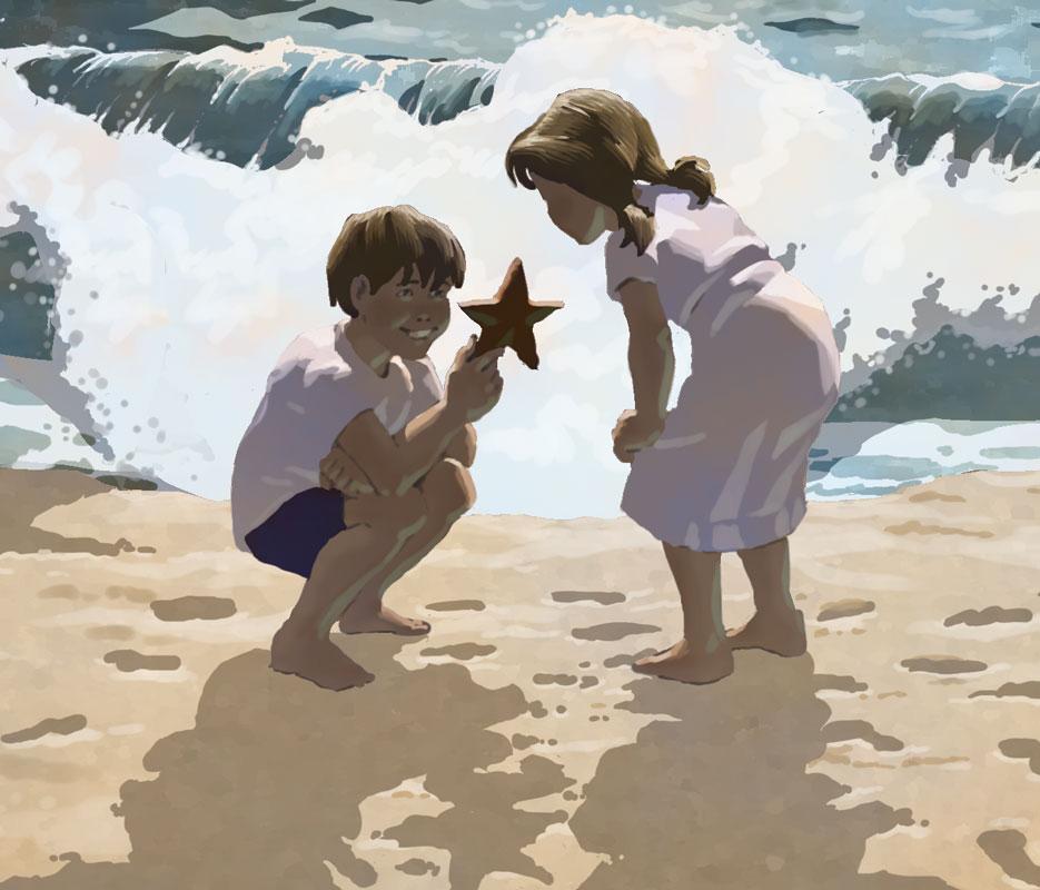 Children Discover Starfish