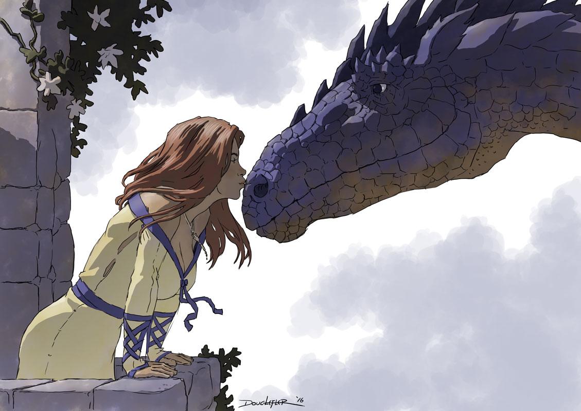 Girl kissing Dragon