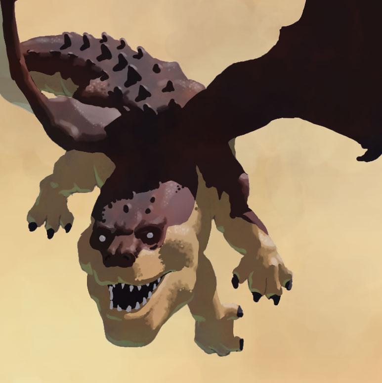 Entranced dragon in flight.