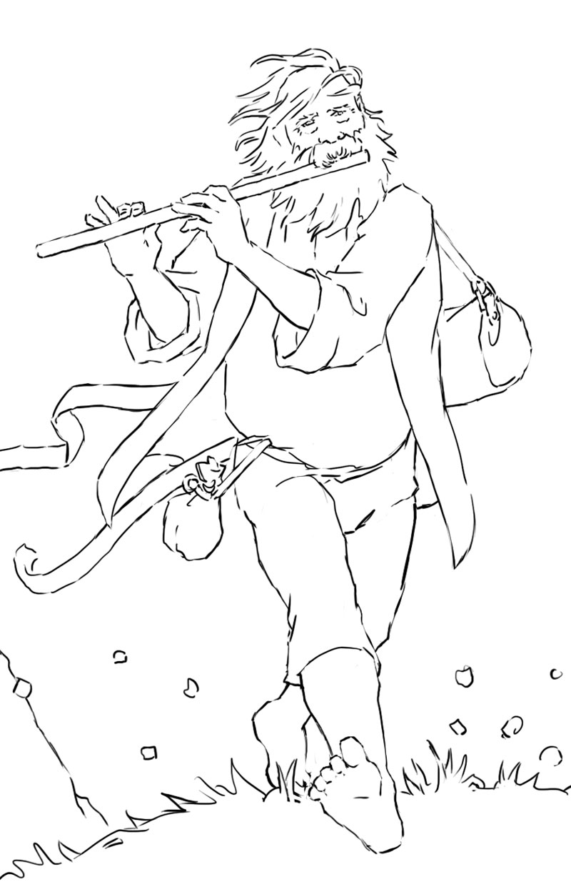 Line drawing of the piper