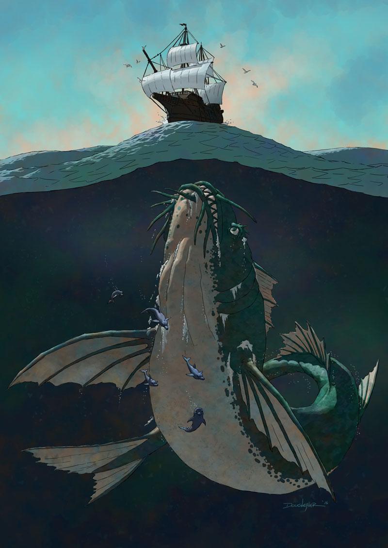 Enormous sea monster investigates ancient sailing ship