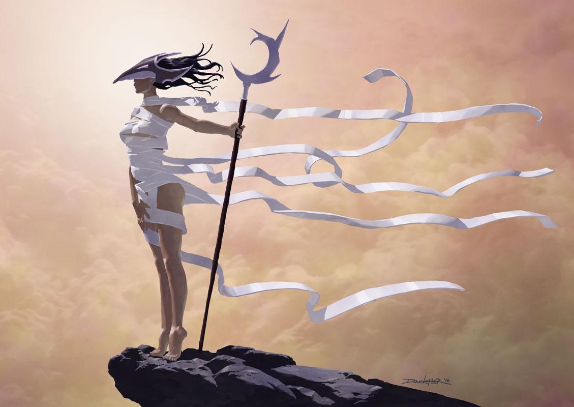 Fantasy woman sentry with ribbon