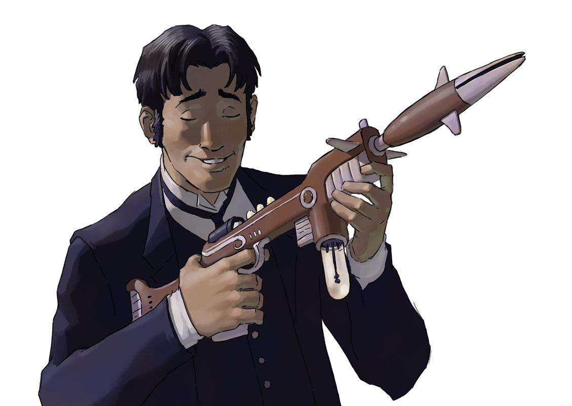 Oz admires the craftsmanship of an Alpirian weapon.