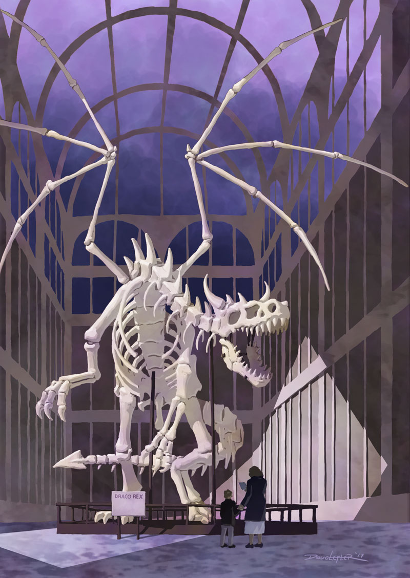 Dragon skeleton in museum.