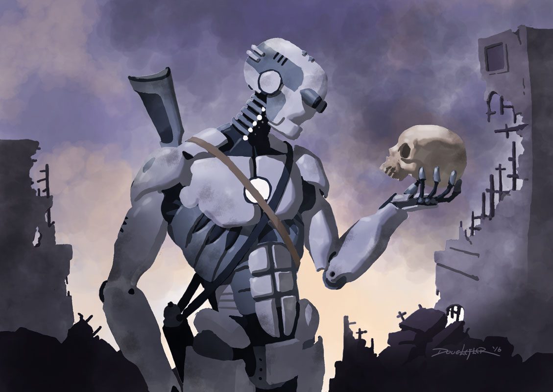 Robot Hamlet with Skull