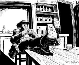 """The Gunfighter Contemplates his Mech Suit"""