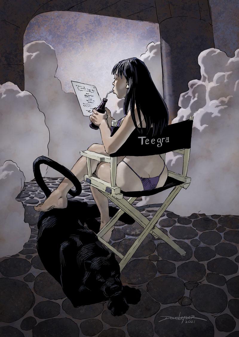Teegra reading a script